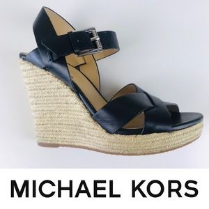 Michael Kors Black Espadrille Wedge Sandals Shoes